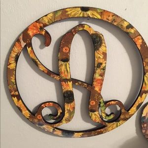 """Wooden Letter A Sunflower Wreath 12""""PriceFirm"""